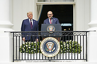 "United States President Donald J. Trump looks on as Dr. Abdullatif bin Rashid Alzayani, Minister of Foreign Affairs, Kingdom of Bahrain makes remarks during the signing ceremony of the ""Abraham Accords"" on the South Lawn of the White House in Washington, DC on Tuesday, September 15, 2020.  <br /> Credit: Chris Kleponis / Pool via CNP /MediaPunch"
