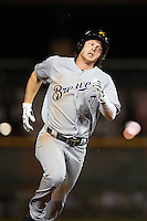 Salt River Rafters Brett Phillips (7), of the Milwaukee Brewers organization, during a game against the Scottsdale Scorpions on October 12, 2016 at Scottsdale Stadium in Scottsdale, Arizona.  Salt River defeated Scottsdale 6-4.  (Mike Janes/Four Seam Images)