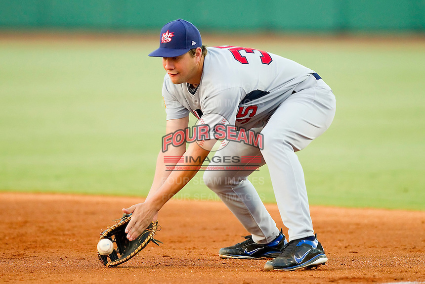 First baseman Brian Johnson #35 (Florida) of the USA Baseball Collegiate National Team fields a ground ball against the USA 18u National Team at the USA Baseball National Training Center on July 2, 2011 in Cary, North Carolina.  The College National Team defeated the 18u team 8-1.  Brian Westerholt / Four Seam Images