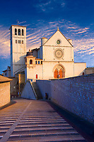 The upper facade of the Papal Basilica of St Francis of Assisi, ( Basilica Papale di San Francesco ) Assisi, Italy