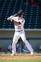 Mesa Solar Sox second baseman Chad Pinder (10) at bat during an Arizona Fall League game against the Scottsdale Scorpions on October 19, 2015 at Sloan Park in Mesa, Arizona.  Scottsdale defeated Mesa 10-6.  (Mike Janes/Four Seam Images)