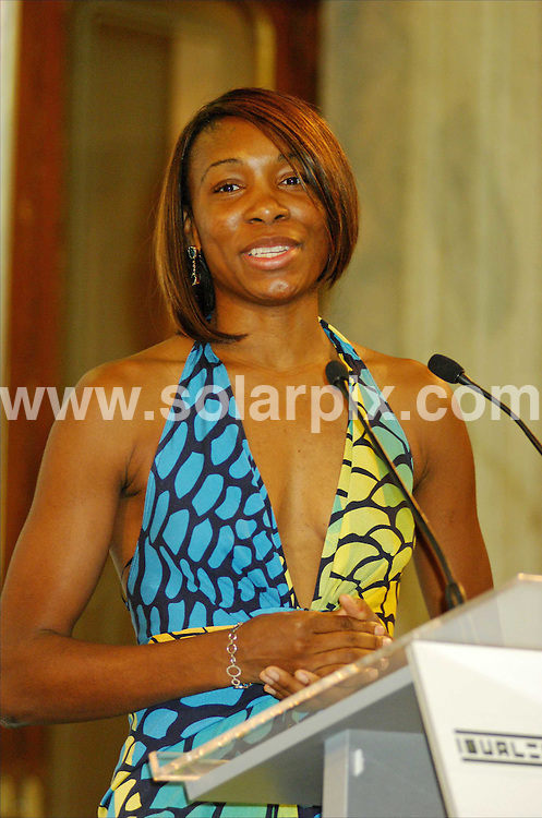 **ALL ROUND PICTURES FROM SOLARPIX.COM**.SYNDICATION RIGHTS FOR UK, CANADA, USA, SOUTH AFRICA, SOUTH AMERICA, DUBAI, AUSTRALIA, NEW ZEALAND, GREECE, ASIA..Venus Williams at the Madrid Town Hall on her first event since volunteering to serve as the first global -promoter of gender equality for Unesco. Unesco and Sony Ericsson have teamed up creating charities and to raise awareness for equality for women in Tennis and all spheres of society. Sony Ericsson are promoting the Sony Ericsson Championships and ATP Masters Series in Madrid...DATE: 11/11/2006-JOB REF: 3041-SPA.**MUST CREDIT SOLARPIX.COM OR DOUBLE FEE WILL BE CHARGED**