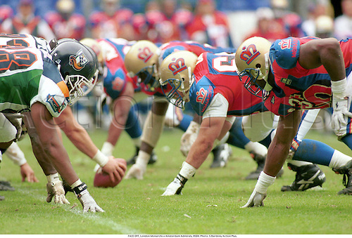 Before the snap, AMERICAN FOOTBALL general action, London Monarchs v Amsterdam Admirals, Crystal Palace, 9504. Photo: Steve Bardens/Action Plus...American Football.1995.Gridiron.gridiron