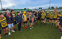 The Yellows team huddles after winning the 2019 Manawatu premier club rugby Hankins Sheild final match between Varsity and Feilding Yellows at CET Arena in Palmerston North, New Zealand on Saturday, 13 July 2019. Photo: Dave Lintott / lintottphoto.co.nz