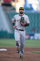 Salt Lake Bees right fielder Kaleb Cowart (22) jogs off the field between innings of a Pacific Coast League game against the Fresno Grizzlies at Chukchansi Park on May 14, 2018 in Fresno, California. Fresno defeated Salt Lake 4-3. (Zachary Lucy/Four Seam Images)