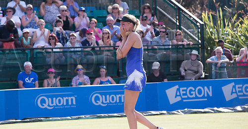June 18th 2017, Nottingham, England; WTA Aegon Nottingham Open Tennis Tournament day 7 finals day; The moment Donna Vekic of Croatia realises she has won the ladies singles final in her match with Johanna Konta of Great Britain