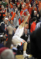 Virginia fans go crazy after Virginia guard Joe Harris (12) hits another three point basket during the game against Maryland Monday night in Charlottesville, VA. Photo/The Daily Progress/Andrew Shurtleff