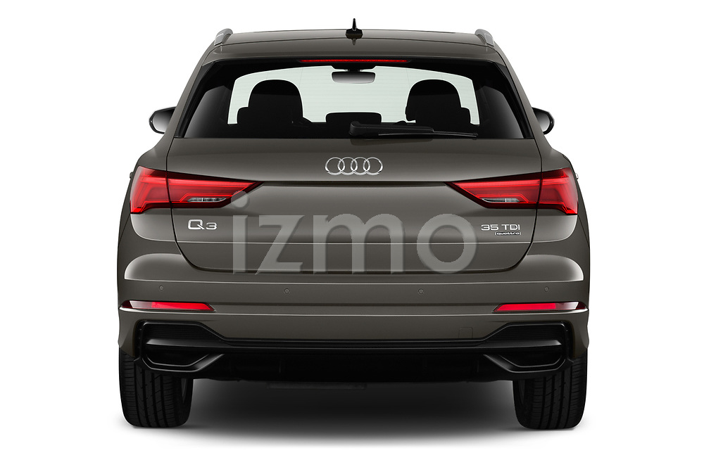 Straight rear view of 2019 Audi Q3 S-line 5 Door SUV Rear View  stock images