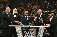NEW YORK, NY - APRIL 6: Billy Gunn, Road Dogg Jesse James, Triple H and Sean Michaels at the 2019 WWE Hall Of Fame Ceremony at the Barclay's Center in Brooklyn, New York City on April 6, 2019.      <br /> CAP/MPI/GN<br /> ©GN/MPI/Capital Pictures