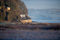 Thursday  01 December 2016<br /> Pictured:A frosty view of Dylan Thomas' boat house and writing shed in Laugharne, West Wales <br /> Re: The cold snap continues across the UK with many parts of the country experiencing sub zero temperatures.
