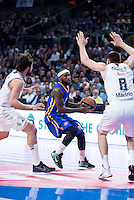 Real Madrid's Sergio Llull and Jonas Maciulis and Khimki Moscow's Tyrese Rice during Euroleague match at Barclaycard Center in Madrid. April 07, 2016. (ALTERPHOTOS/Borja B.Hojas) /NortePhoto