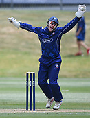 6th December 2017, Eden Park, Auckland, New Zealand; Ford Trophy One Day Cricket, Auckland Aces versus Canterbury Wizards;  Ben Horne celebrates the wicket of Pollard