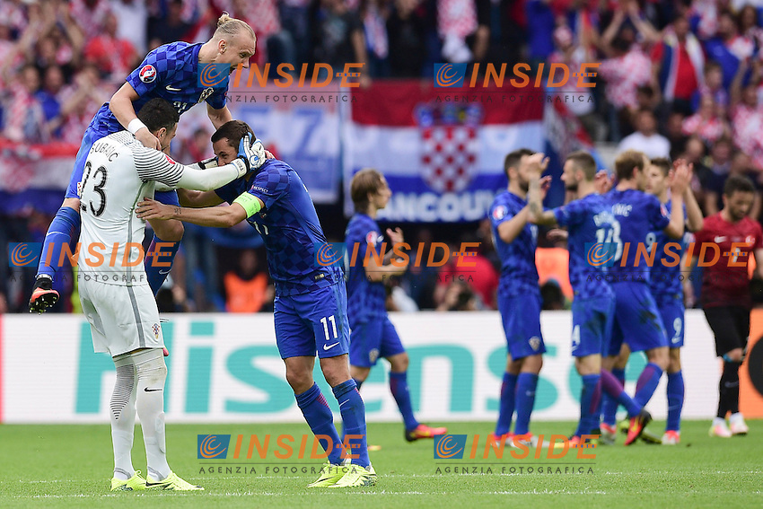 joie des joueurs de la Croatia en fin de match<br />