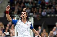 Rotterdam, The Netherlands. 14.02.2014. ABN AMRO World Tennis Tournament Igor Sijsling(NED) winning<br /> Photo:Tennisimages/Henk Koster