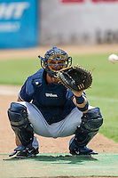 San Antonio Missions catcher Griff Erickson (11) warms up before the Texas League baseball game against the Midland RockHounds on June 28, 2015 at Nelson Wolff Stadium in San Antonio, Texas. The Missions defeated the RockHounds 7-2. (Andrew Woolley/Four Seam Images)