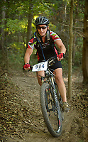 NWA Democrat-Gazette/BEN GOFF @NWABENGOFF<br /> Aerah Hardin of Hot Springs leads the category 3 women age 19-39 cross country race on Sunday Oct. 2, 2016 during the annual Slaughter Pen Jam at the Slaughter Pen trails in Bentonville. Hardin won the age group. Sunday concluded the three-day festival with cross country races that were part of the Monster Energy Arkansas Mountain Bike Championship Series.