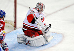 31 March 2010: Carolina Hurricanes' goaltender Cam Ward makes a first period save against the Montreal Canadiens at the Bell Centre in Montreal, Quebec, Canada. The Hurricanes defeated the Canadiens 2-1. Mandatory Credit: Ed Wolfstein Photo