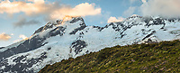 Sunset on Mount Sefton 3151m and Footstool, Aoraki Mt. Cook National Park, UNESCO World Heritage Area, Mackenzie Country, New Zealand, NZ