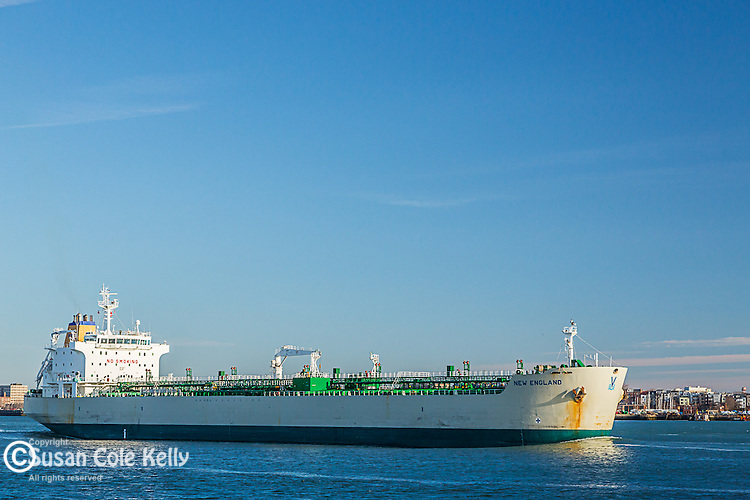 Fuel tanker in Boston Harbor, Boston, Massachusetts, USA