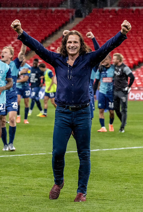 Wycombe Wanderers' manager Gareth Ainsworth celebrates victory and promotion to the Sky Bet Championship <br /> <br /> Photographer Andrew Kearns/CameraSport<br /> <br /> Sky Bet League One Play Off Final - Oxford United v Wycombe Wanderers - Monday July 13th 2020 - Wembley Stadium - London<br /> <br /> World Copyright © 2020 CameraSport. All rights reserved. 43 Linden Ave. Countesthorpe. Leicester. England. LE8 5PG - Tel: +44 (0) 116 277 4147 - admin@camerasport.com - www.camerasport.com