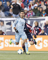 Sporting Kansas City substitute forward Soony Saad (22) looks to pass. In the first game of two-game aggregate total goals Major League Soccer (MLS) Eastern Conference Semifinal series, New England Revolution (dark blue) vs Sporting Kansas City (light blue), 2-1, at Gillette Stadium on November 2, 2013.