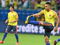 SALVADOR – BRASIL, 15-06-2019: Radamel Falcao Garcia de Colombia calienta previo al partido de la Copa América Brasil 2019, grupo B, entre Argentina y Colombia jugado en el Itaipava Fonte Nova Arena de la ciudad de Salvador, Brasil. / Radamel Falcao Garcia of Colombia warms up prior the Copa America Brazil 2019 group B match between Argentina and Colombia played at Itaipava Fonte Nova Arena in Salvador, Brazil. Photos: VizzorImage / Julian Medina / Cont / FCF