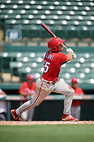 Philadelphia Phillies Ben Akilinski (25) follows through on a swing during a Florida Instructional League game against the Baltimore Orioles on October 4, 2018 at Ed Smith Stadium in Sarasota, Florida.  (Mike Janes/Four Seam Images)