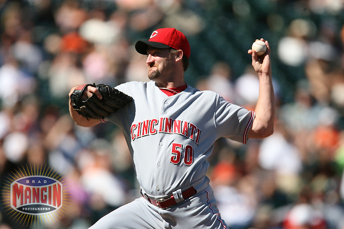 SAN FRANCISCO - APRIL 27:  Kent Mercker of the Cincinnati Reds pitches during the game against the San Francisco Giants at AT&T Park in San Francisco, California on April 27, 2008.  The Reds defeated the Giants 10-1.  Photo by Brad Mangin