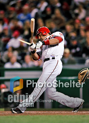 29 September 2009: Washington Nationals' fielder Mike Morse breaks his bat during game action against the New York Mets at Nationals Park in Washington, DC. The Nationals rallied to defeat the Mets 4-3 in the second game of their final 3-game home series. Mandatory Credit: Ed Wolfstein Photo