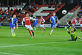 11/08/2015 Capital One Cup, First Round Fleetwood Town v Hartlepool United<br /> Michael Woods second half shot fails to find the net