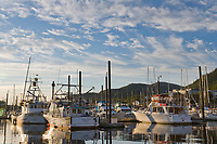 Evening sun on fishing boats in Ketchikan harbor, Ketchikan, southeast, Alaska.