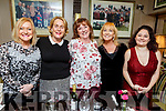 Enjoying the night out in the Brogue Inn  on Friday night.L-r, Brenda Lynch (Tralee), Jackie O'Brien (Woodbrook Lawn, Tralee), Geraldine Carbone (Boston), Stella Debanne (Galway) and Deirdre Carbone (Boston).