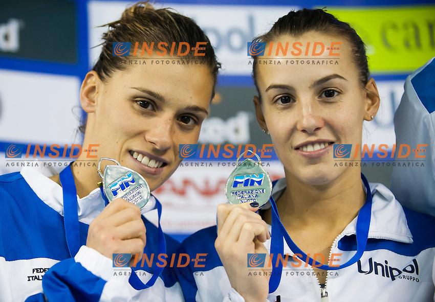 Tania Cagnotto and Francesca Dallape' ITA silver medal.Women's 3m synchro  springboard finals.08/12/2012.Four Nations Diving Championships 2012.Torino - Italy  .Dec.07th - 09th 2012.Ph. Giorgio Perottino / Deepbluemedia / Insidephoto