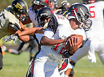 Palos Verdes, CA 09/25/15 - AJ Seymour (Peninsula #13) and Chris Murray (Lawndale #12) in action during the Lawndale - Palos Verdes Peninsula Varsity football game at Peninsula High School.