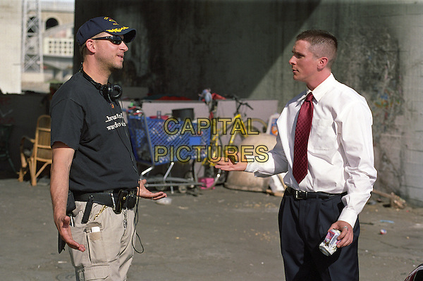 David Ayer (Director), Christian Bale<br /> on the set of Harsh Times (2005) <br /> (Bad Times)<br /> *Filmstill - Editorial Use Only*<br /> CAP/NFS<br /> Image supplied by Capital Pictures