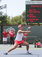 STANFORD, CA - April 9, 2011:  Kristie Ahn playing doubles while coaches look on during Stanford's 5-2 victory over Washington at Stanford, California on April 9, 2011.