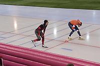 SPEEDSKATING: HAMAR: Vikingskipet, 28-02-2020, ISU World Speed Skating Championships, Sprint, 1000m Men, Laurent Dubreuil (CAN), Kjeld Nuis (NED), ©photo Martin de Jong