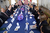 US President Barack Obama (center table right) holds a bilateral meeting with President Abdel Fattah el-SiSi (center table left) of the Arab Republic of Egypt at the Waldorf Astoria Hotel in New York, NY, on September 25, 2014. <br /> Credit: Anthony Behar / Pool via CNP