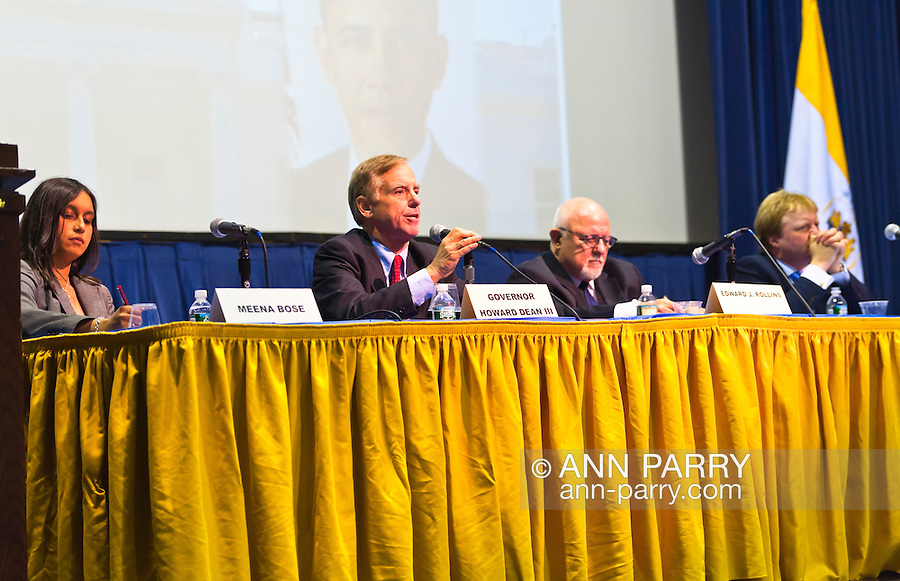 """Meena Bose, Governor Howard B. Dean III, Edward J. Rollins, and Lord Stewart Wood of Anfield are panelists at """"Change in the White House? Comparing the George W. Bush and Barack Obama Presidencies"""" on Thursday, April 19, 2012, at Hofstra University, Hempstead, New York, USA. Hofstra's event was part of """"Debate 2012: Pride, Politics and Policy"""" which leads up to the Presidential Debate Hofstra is hosting on October 15, 2012. Dr. Meena Bose is the Peter S. Kalikow Chair in Presidential Studies at Hofstra University. Governor Howard B. Dean III, is a former Democratic National Committee Chairman, presidential candidate, six term Governor of Vermont, and physician. Edward J. Rollins managed President Ronald Reagan's 49 state landslide reelection campaign in 1984, and had major managerial roles in nine other Presidential campaigns. Lord Stewart Wood, a British academic and Labour life peer in the House of Lords, served as Senior Policy Advisor to Prime Minister Brown and campaign manager for the successful campaign of Ed Milliband to Labour Party Leader, and a member of the Shadow Cabinet."""