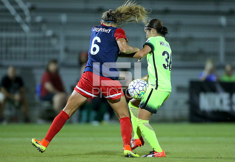 Boyds, MD - Wednesday Sept. 07, 2016: Shelina Zardorsky, Nahomi Kawasumi during a regular season National Women's Soccer League (NWSL) match between the Washington Spirit and the Seattle Reign FC at Maureen Hendricks Field, Maryland SoccerPlex.