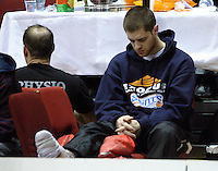 Saints import Eric Devendorf sits out after damaging his ankle during the NBL match between the Wellington Saints and Nelson Giants at TSB Bank Arena, Wellington, New Zealand on Friday, 21 May 2010. Photo: Dave Lintott / lintottphoto.co.nz