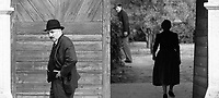1945 (2017)<br /> Town clerk Istv&aacute;n Szentes (P&eacute;ter Rudolf) worries about his town&rsquo;s unwelcome visitors, while Mr. and Mrs. Kust&aacute;r (J&oacute;zsef Szarvas, &Aacute;gi Szirtes) linger in the background<br /> *Filmstill - Editorial Use Only*<br /> CAP/FB<br /> Image supplied by Capital Pictures