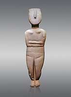 Female figurine statuette: Cycladic Canonical type, combining Dokathismata and Spedos variety. Early Cycladic Period II, (2800-2300 BC), 'Steiner Master'.  Museum of Cycladic Art Athens, cat no 283.  Against Grey Background.