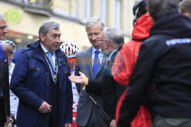 Two Belgian Kings, Philippe King of Belgium and Former Champion Eddy Merckx special guests on the start line in Ypres for the cobbled stage Stage 5 of the 2014 Tour de France running 155.5km from Ypres to Arenberg. 9th July 2014.<br /> Picture: Eoin Clarke www.newsfile.ie