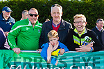 Karl McMahon, Noel and Noah Brosnan and Pat O'Neill cheering on  Killarney Celtic against Sheriff in the FAI cup semi final on Saturday