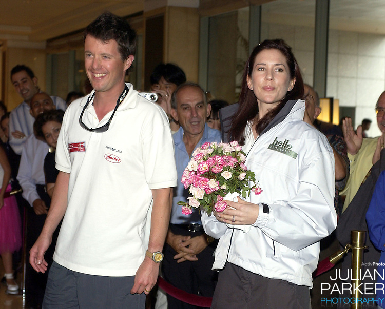 Crown Prince Frederik & Crown Princess Mary of Denmark return to the Shangri-La Hotel, after taking part in a sailing match on Sydney Harbour, during their 2-week visit to Australia..