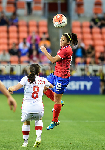 19.02.2016. Houston, TX, USA. Costa Rica Defender Lixy Rodriguez (12) wins a header during the Women's Olympic qualifying soccer match between Canada and Costa Rica at BBVA Compass Stadium in Houston, Texas.