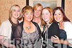 HIGH SPIRITS: Deirdre Kennelly, Joanne O'Connor, Elisa Greaney, Jennifer O'Carroll and Mary Mulvihill were in good spirits at the Moyvane GAA social in Kirby's Lanterns Hotel, Tarbert, on Friday night.   Copyright Kerry's Eye 2008