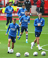 The Preston North End players during the pre-match warm-up <br /> <br /> Photographer David Shipman/CameraSport<br /> <br /> The EFL Sky Bet Championship - Nottingham Forest v Preston North End - Saturday 31st August 2019 - The City Ground - Nottingham<br /> <br /> World Copyright © 2019 CameraSport. All rights reserved. 43 Linden Ave. Countesthorpe. Leicester. England. LE8 5PG - Tel: +44 (0) 116 277 4147 - admin@camerasport.com - www.camerasport.com