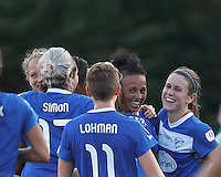 Boston Breakers forward Lianne Sanderson (10) celebrates her goal with teammates.  In a National Women's Soccer League (NWSL) match, Boston Breakers (blue) tied Western New York Flash (white), 2-2, at Dilboy Stadium on August 3, 2013.